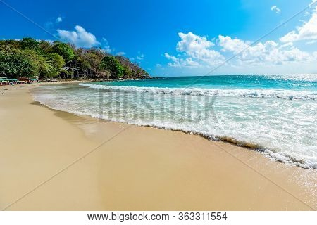 View Of Beautiful Tropical Landscape Beach Sea Island With Ocean Blue Sky And Resort Background In T