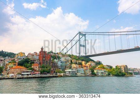 Istanbul, Turkey - Aug 18, 2015: Fatih Sultan Mehmet Bridge Above The Bosphorus. Beautiful Cityscape