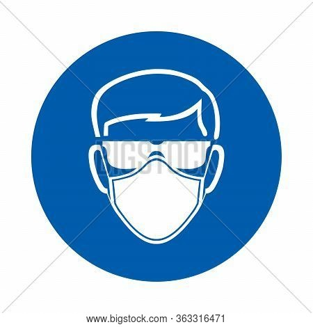 Safety Glasses And Mask Must Be Worn Sign Or Symbol.  Standard Iso 7010.  Vector Design Isolated On
