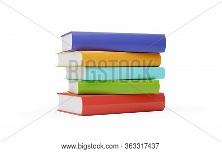Blue, Red, Green And Yellow Hardcover Books With Blank Covers Stacked Over White Background - 3d Ill