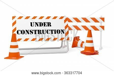 Orange Traffic Warning Cones Or Pylons With Street Barrier And Under Construction Sign On White Back
