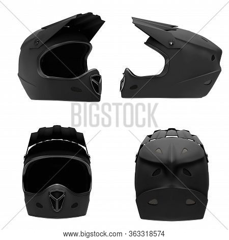 Set Of Motor Sport Fullface Helmet Isolated. All Side View. Extreme Sport Equipment. Black Matte Col