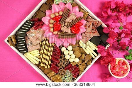 Chocolate Dessert Charcuterie Grazing Platter Tray On Modern Pink Background