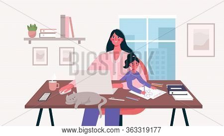 Cute Happy Mother Sits With A Baby And Works At A Laptop. Home Office. Mother Freelancer, Remote Wor