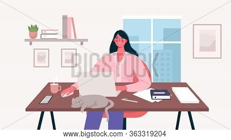 Woman Working At Her Desk With Laptop. Home Office. Freelance Or Studying Concept. Daily Life Of Fre