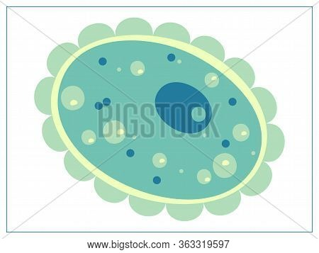 Vector Flat Illustration With A Bacteria, Virus, Cells, Germs Or Epidemic Bacillus. For Web, Logo, A