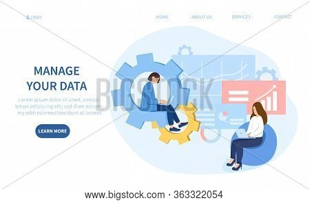 Manage Your Data Concept With Two Businesswomen Working On Laptop Computer Analysing Statistical Cha