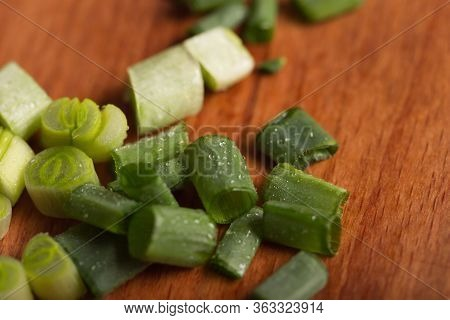 Green Onion Vitamin. Spring Onions Are A Source Of Vitamin C. Finely Chopped Green Onions For Salad