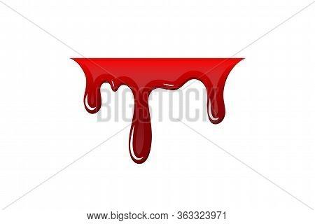 Blood Drip 3d. Drop Blood Isloated White Background. Happy Halloween Decoration Design. Red Splatter