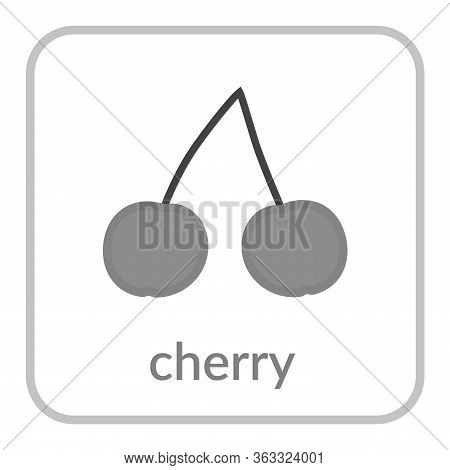 Cherry Icon. Gray Cherries, Outline Flat Berry Sign, Isolated White Background. Symbol Health Nutrit