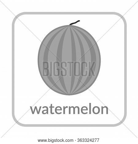 Watermelon Icon. Outline Flat Sign, Isolated White Background. Symbol Of Health Nutrition, Eco Food