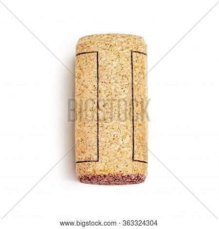 Wine Cork Isolated On White Background Macro. Cork Stopper. Alcohol Concept