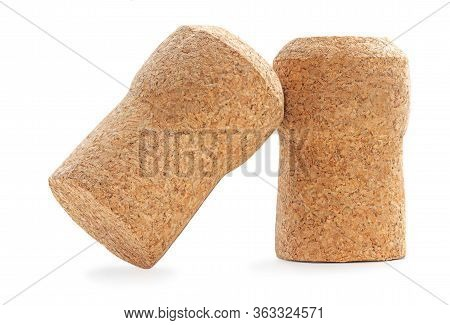 Wine Cork Isolated On White Background Macro. Cork Stoppers
