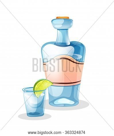 Tequila Bottle And Tequila Shot With A Lime