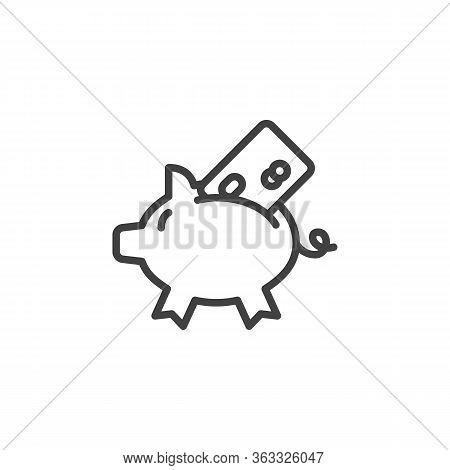 Piggy Bank With Credit Card Line Icon. Linear Style Sign For Mobile Concept And Web Design. Bank Car