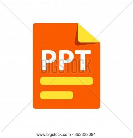 Vector Orange Icon Ppt. File Format Extensions Icon.