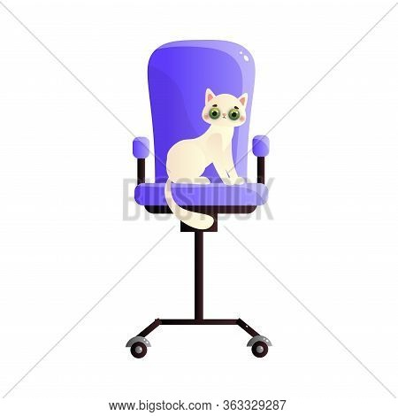 Cute Domestic White Cat Character Sitting On The Tall Purple Chair. Vector Illustration In Flat Cart