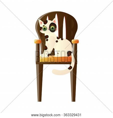 Cute Domestic Colorful Cat Character Sitting On The Tall Wooden Chair. Vector Illustration In Flat C