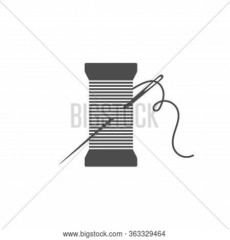 Needle And Spool Silhouette Icon Vector Illustration. Black Bobbin Silhouette With Outline Needle An