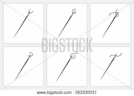 Needle And Thread Silhouette Icon Set Vector Illustration. Tailor Logo With Needle Symbol And Curvy