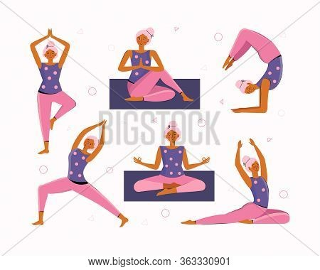 Young Woman Does Yoga And Meditation At Home. Collection Of Different Yoga Poses And Asanas. Home Tr
