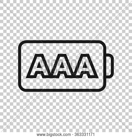 Aaa Battery Icon In Flat Style. Power Level Vector Illustration On White Isolated Background. Lithiu