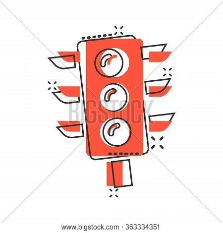 Semaphore Icon In Comic Style. Traffic Light Cartoon Vector Illustration On White Isolated Backgroun