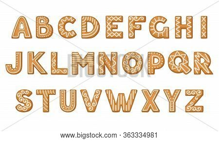 Gingerbread Cookies In The Shape Of Alphabet With Icing Sugar Ornament Vector Set