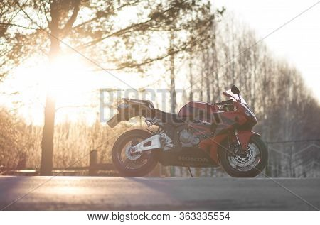Krasnoyarsk, Russia - April 1, 2020: Red And Black Sportbike Honda Cbr 600 Rr 2005 Pc37.