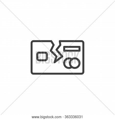 Broken Credit Card Line Icon. Debt Free Linear Style Sign For Mobile Concept And Web Design. Debt Ba