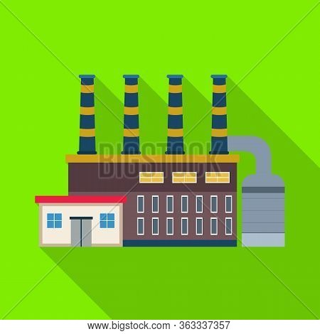 Vector Design Of Factory And Nuclear Sign. Set Of Factory And Energy Vector Icon For Stock.