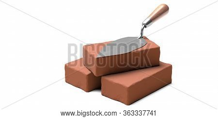 Masonry Concept. Metal Trowel Hand Tool With Wooden Handle On Brown Ceramic Bricks Isolated On White