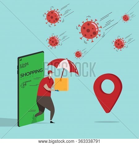 Delivery Man In Red Shirt Holding Goods Order In Package Parcel Walk From Mobile Smartphone With Umb