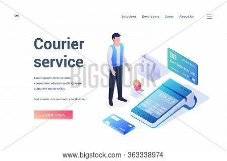 Vector Website Banner For Convenient Courier Service