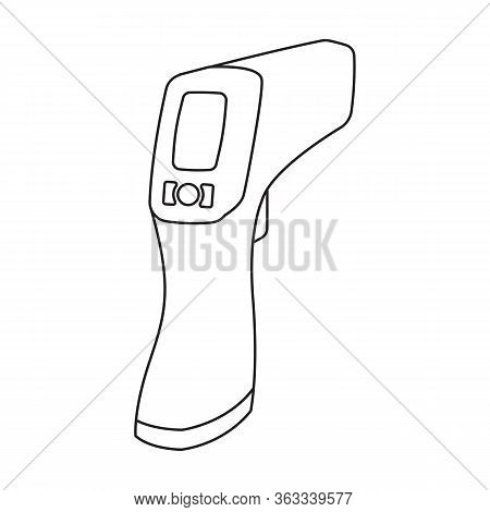 Gun Thermometer Vector Icon.outline Vector Icon Isolated On White Background Gun Thermometer .