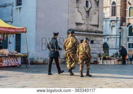 Venice, Italy. February 2020 At Campo Santa Maria Formosa. Police And Military Patrols The City Duri