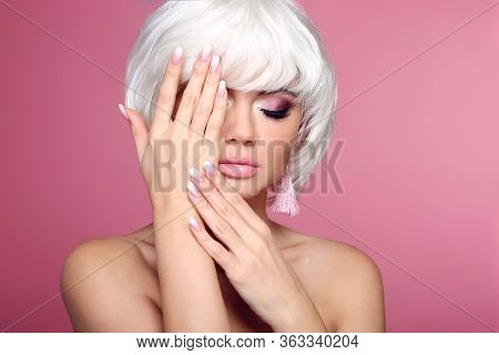 Ombre Manicure Nails. Blond Bob Short Hairstyle. Hands. Beautiful Hair Coloring Woman. Trendy Haircu
