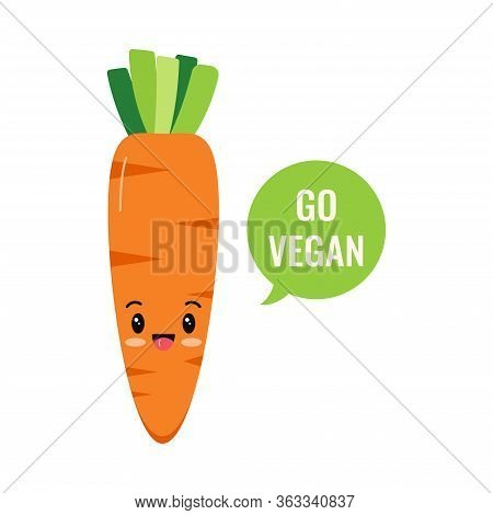 Cute Carrot Emoji Character Isolated On White Background. Kawaii Style Fresh Funny Orange Carrot And