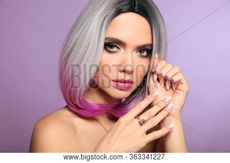 Beautiful Lady Presents Amethyst Ring And Bracelet Jewelry Set. Woman Portrait With Ombre Bob Short