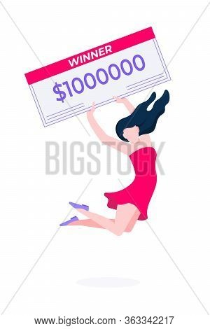 Happy Woman - Lottery Winner With Prize Check. Fortune Lottery Or Casino Gambling Lucky Games Concep