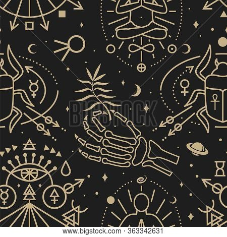 Gold Esoteric Seamless Pattern, Background. Vector Illustration. Thin Line Geometric Pattern. Outlin