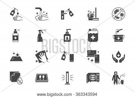 Disinfection Flat Icons. Vector Illustration Included Icon As Spray Bottle, Floor Cleaning Mop, Wash