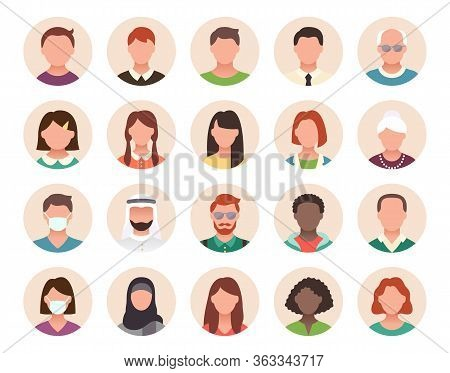 People Avatar Flat Icons. Vector Illustration Included Icon As Man, Female Head, Muslim, Senior, Adu