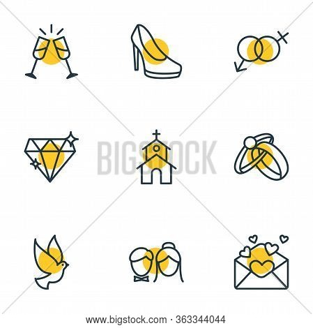 Illustration Of 9 Wedding Icons Line Style. Editable Set Of Rings, Just Married, Gender Signs And Ot
