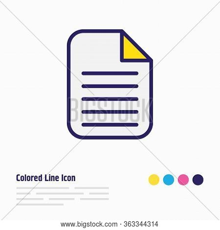Vector Illustration Of File Icon Colored Line. Beautiful Bureau Element Also Can Be Used As Document