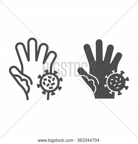 Unwashed Hand With Virus Line And Solid Icon. Prevent Coronavirus Spread Symbol, Outline Style Picto