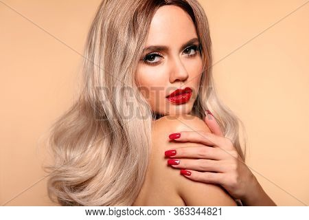 Makeup, Manicured Nails. Beauty Portrait Of Blonde Woman With Red Lips, Long Healthy Shiny Blond Hai