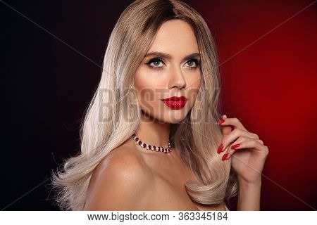 Ruby Pendant Jewelry. Beauty Portrait Of Blonde Woman With Red Lips, Long Healthy Shiny Blond Hair S