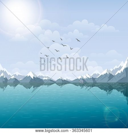 Vector Lake And Mountain Landscape Illustration. Beautiful Nature Background With Riverside, And Sno