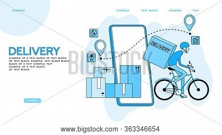 Fast Delivery By Bike Via Mobile Phone. Ecommerce Concept. Online Shopping. Online Delivery Service